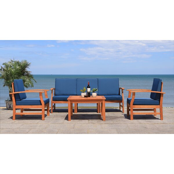 Lauver 4 Piece Seating Group with Cushions by Highland Dunes Highland Dunes