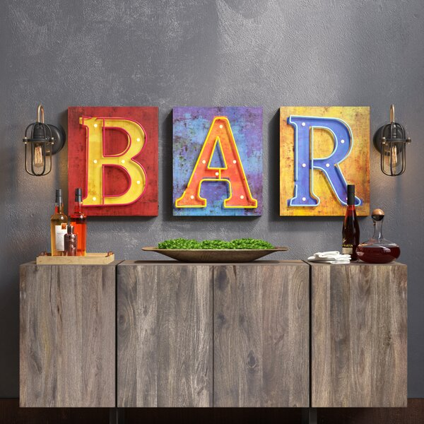3 Piece Bar Marquee Sign by Williston Forge