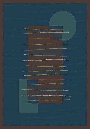 Pastiche Horizon Blue/Dark Brown Rug by Milliken