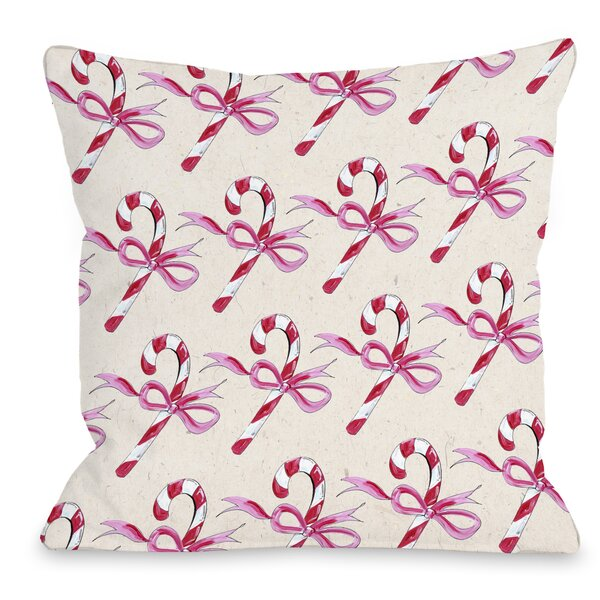 Candy Cane Bows Throw Pillow by One Bella Casa