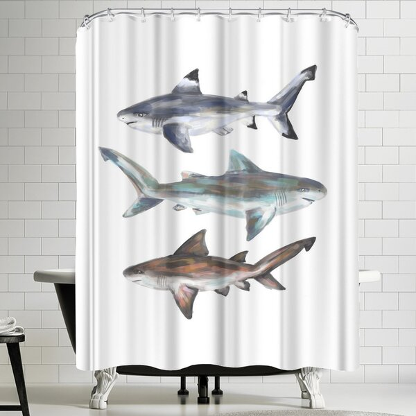 Jetty Printables Painted Shark Trio 2 Shower Curtain by East Urban Home