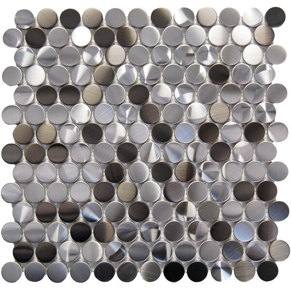 Penny 1 x 1 Metal Mosaic Tile in Black/Gray by Luxsurface