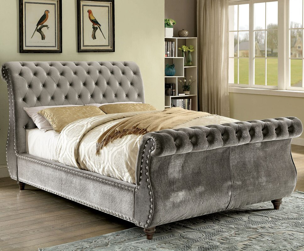 A&J Homes Studio Noella Upholstered Sleigh Bed & Reviews