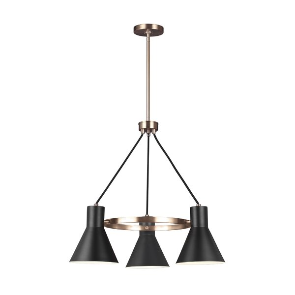 Alton 3 - Light Shaded Wagon Wheel Chandelier by 17 Stories 17 Stories