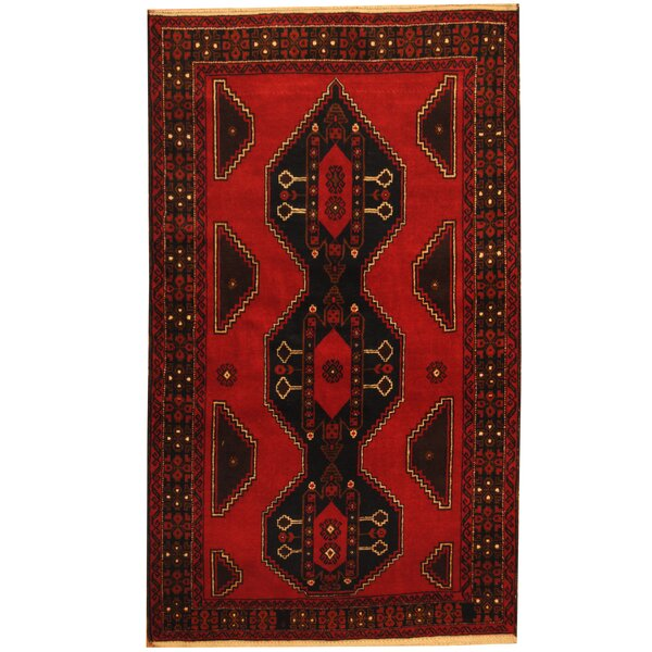 Prentice Tribal Balouchi Hand-Knotted Red/Navy Area Rug by Isabelline