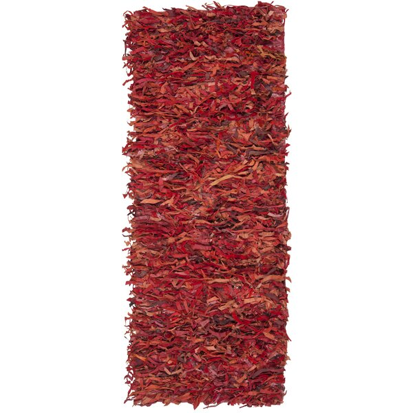 Schaefer Hand-Knotted Red Shag Area Rug by World Menagerie