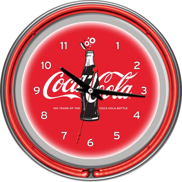 Coca-Cola 100th Anniversary 14.5 Neon Wall Clock by Trademark Global