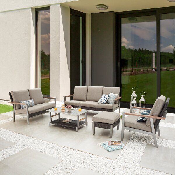 Saadet Outdoor 5 Piece Sofa Seating Group with Cushions by Latitude Run
