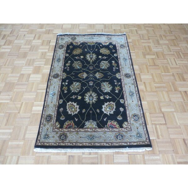 One-of-a-Kind Padro Hand-Knotted Wool Black Area Rug by Bloomsbury Market