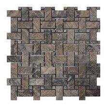 Philadelphia Basketweave 1 x 2 Travertine Mosaic Tile in Dark Gray by Seven Seas