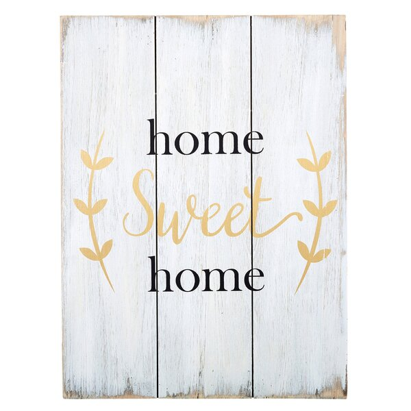 Home Sweet Home Textual Art on Wood by CB Gift