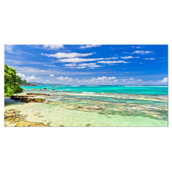 Tranquil Seychelles Tropical Beach Photographic Print on Wrapped Canvas by Design Art