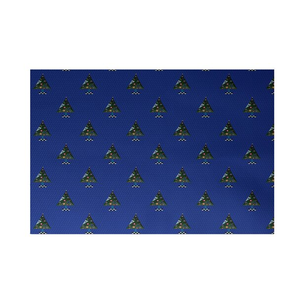 Crazy Christmas Decorative Holiday Print Royal Blue Indoor/Outdoor Area Rug by The Holiday Aisle