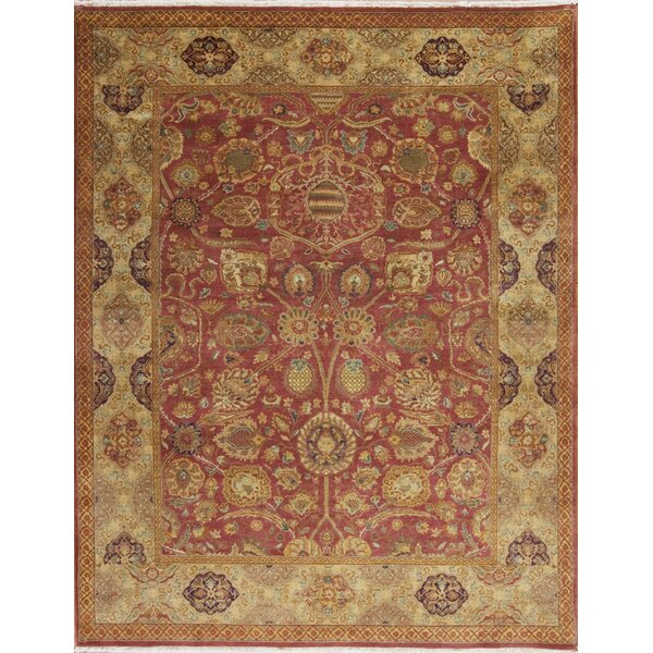 Passions Hand Knotted Wool Red/Gold Rug