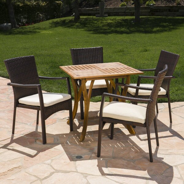 Hennings Outdoor Acacia Wood/Wicker 5 Piece Dining Set with Cushions by Wrought Studio