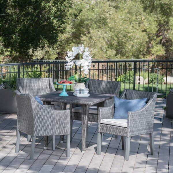 Sudie Outdoor Wicker Square 5 Piece Dining Set with Cushions by Ophelia & Co.