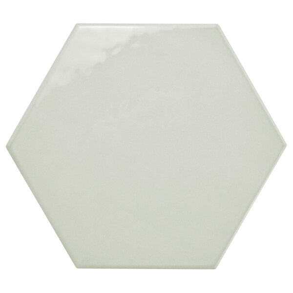 Hexitile 7 x 8 Porcelain CeramicTile in Glossy Gray by EliteTile