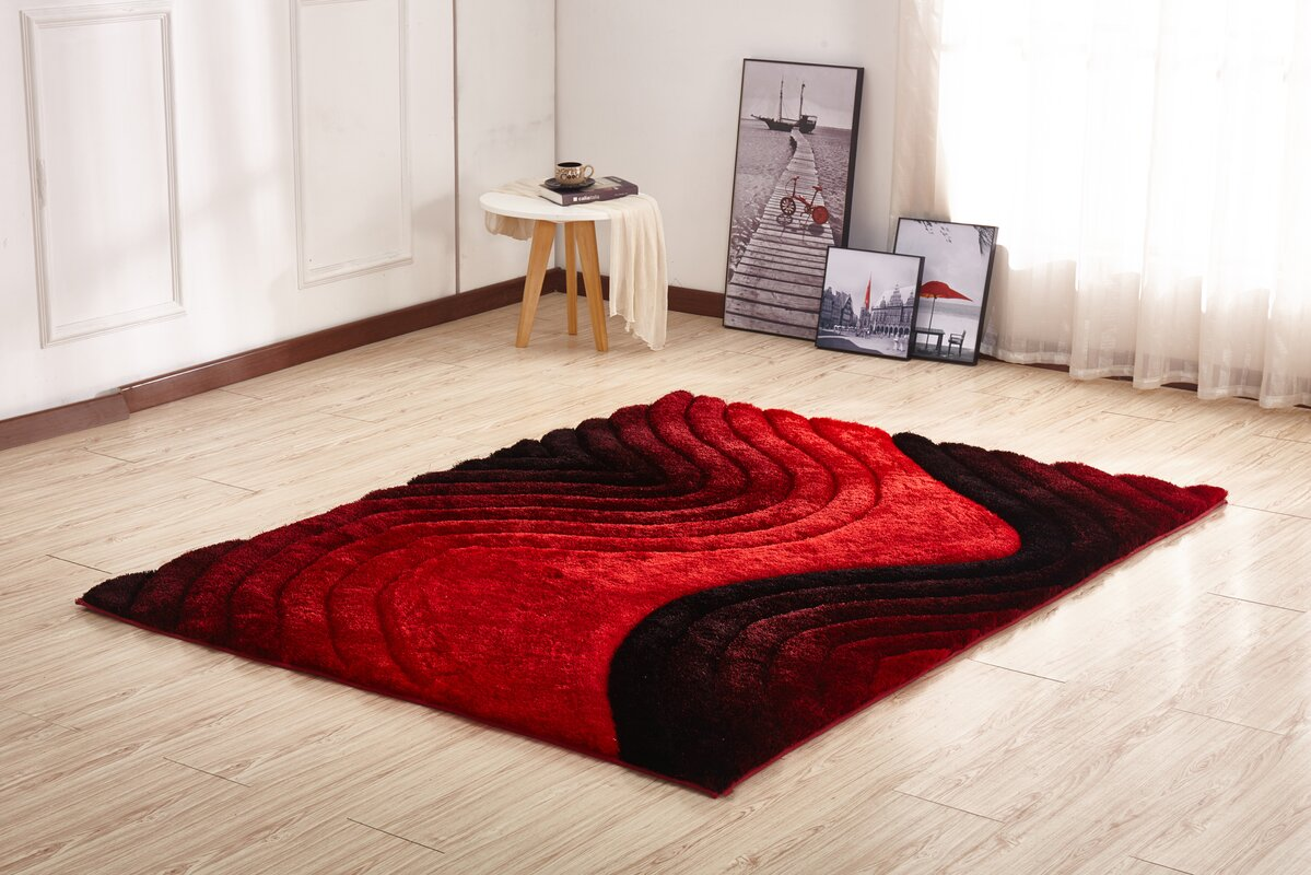 Orren Ellis Kleiber Shaggy 3d Red Black Area Rug Amp Reviews