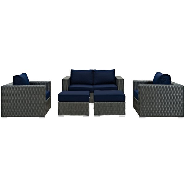 Tripp 5 Piece Rattan Sunbrella Sofa Seating Group with Cushions by Brayden Studio
