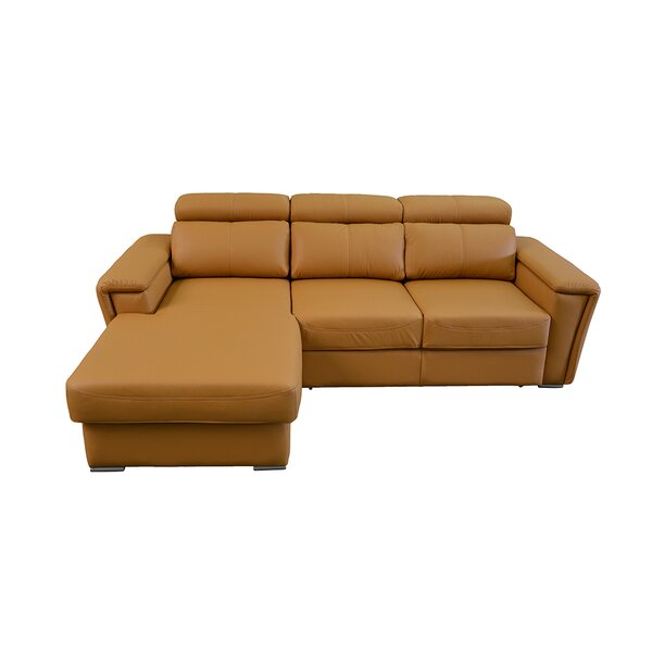 Cheshire Leather Sleeper Sectional by Latitude Run