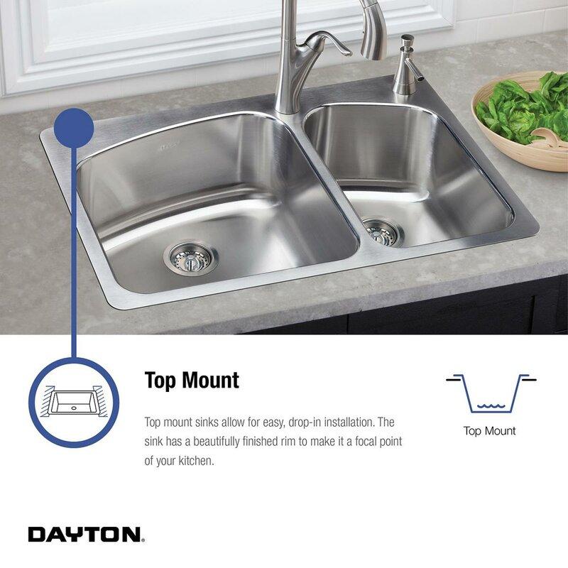 "elkay dayton 25"" x 19"" double basin top mount kitchen sink & reviews"