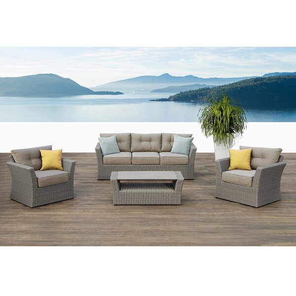 Isabella 4 Piece Rattan Conversation Set with Cushions by Ove Decors