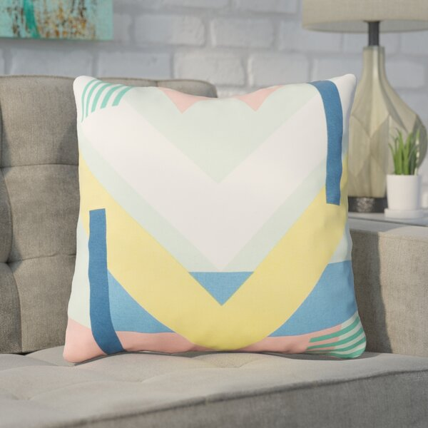 Clio Square Geometric Cotton Throw Pillow by Ivy Bronx