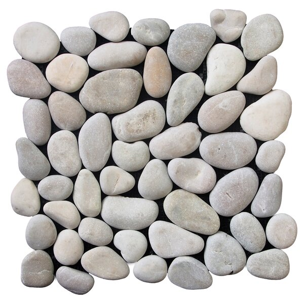Classic Pebble Random Sized Natural Stone Pebble Tile in Tan by Pebble Tile