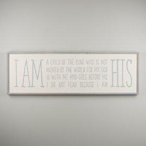 'I Am...His' Textual Art by Red Barrel Studio
