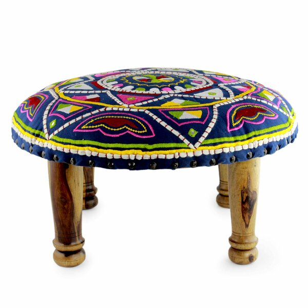 Reeve Rajasthan Galaxy Embroidered Ottoman by Bloomsbury Market