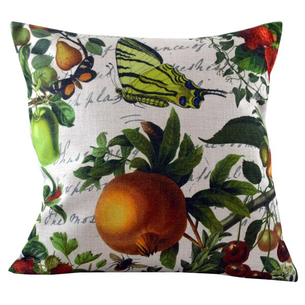 Butterfly and Fruit Throw Pillow Cover by Golden Hill Studio