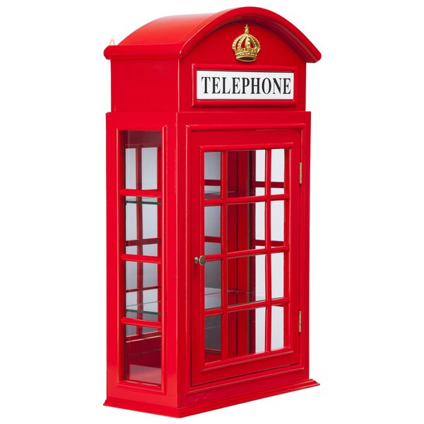 Piccadilly Circus British Telephone Booth Wall Curio Cabinet by Design Toscano