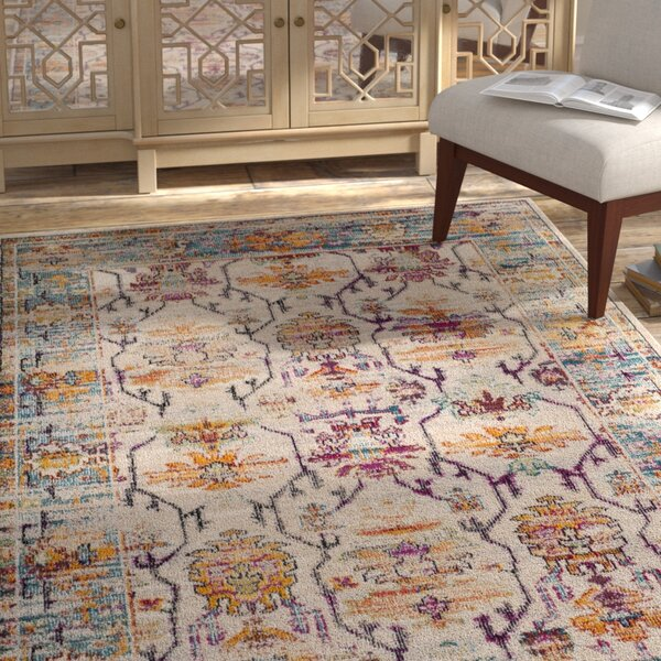 Aponte Cream/Teal Area Rug by Bungalow Rose