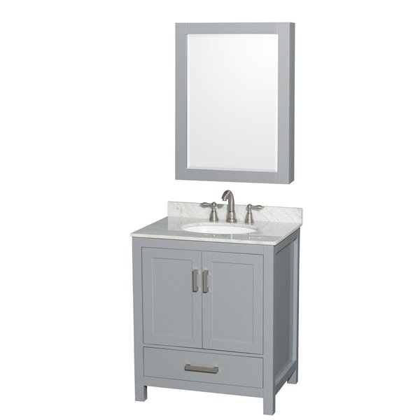Sheffield 30 Single Gray Bathroom Vanity Set with Medicine Cabinet by Wyndham Collection