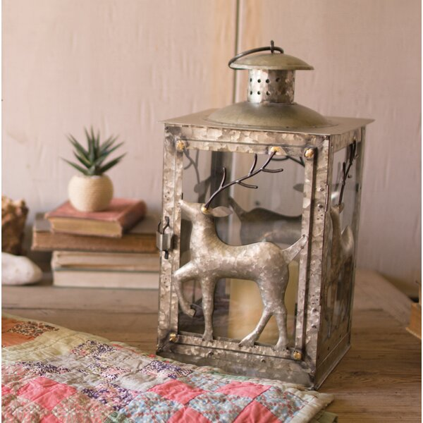 Galvanized Deer Metal Lantern by Kalalou