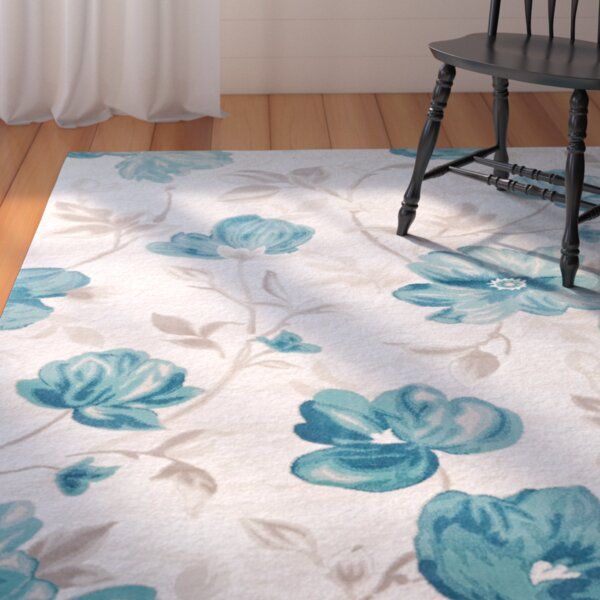 Arlo Begonia Floral Blue Area Rug by August Grove