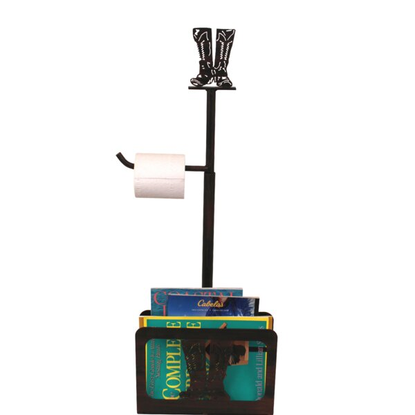 Iron Cowboy Boots Freestanding Toilet Paper Holder with Magazine Rack