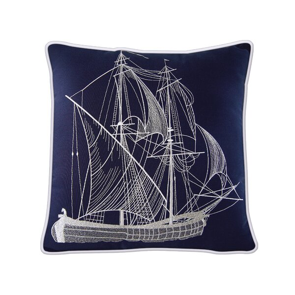 Caton Tall Ship Outdoor Sunbrella Throw pillow by Longshore Tides