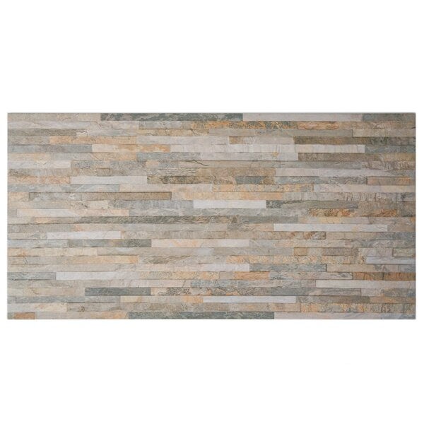 Muro Arriba 12.5 x 24.5 Porcelain Splitface Tile in Ochre by EliteTile