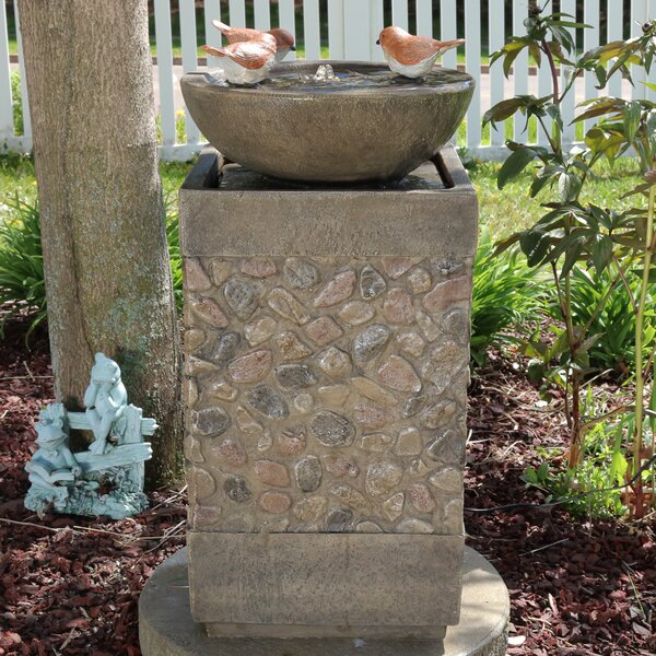 3 Bathing Birds Outdoor Water Fountain Lighted Birdbath by Wildon Home ®