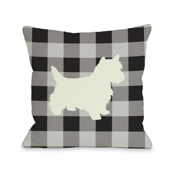 Doggy Décor Gingham Silhouette Westie Throw Pillow by One Bella Casa