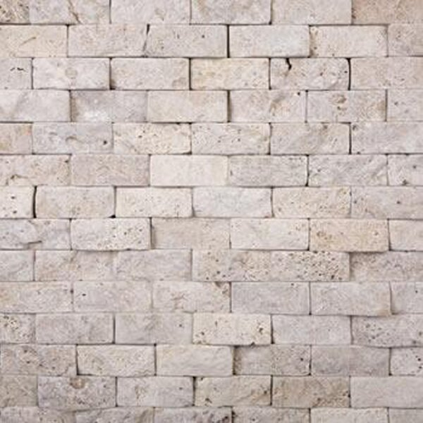 1'' x 2'' Travertine Splitface Tile in Ivory by Epoch Architectural Surfaces