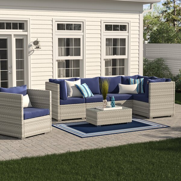 Heinrich 7 Piece Rattan Sectional Set with Cushions by Highland Dunes