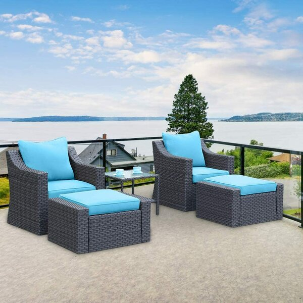 Lambright 5 Piece Rattan Seating Group with Cushions by Latitude Run