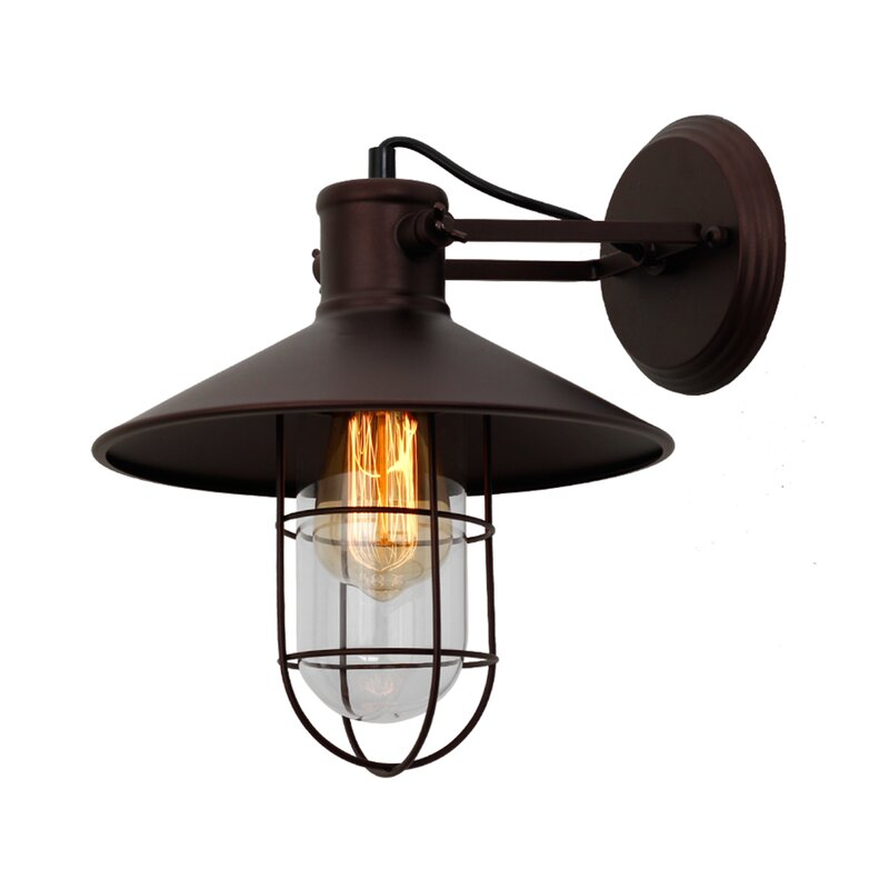 Longshore Tides Demi Industrial 1 Light Armed Sconce Wayfair
