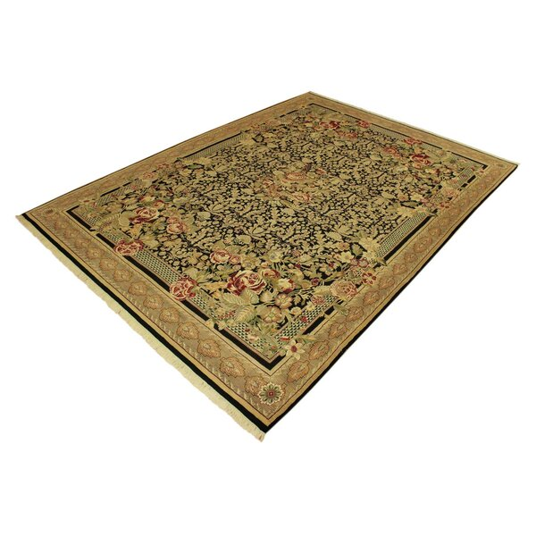 One-of-a-Kind Roca Hand-Knotted 1960s Heritage Black/Tan 9' x 13' Wool Area Rug