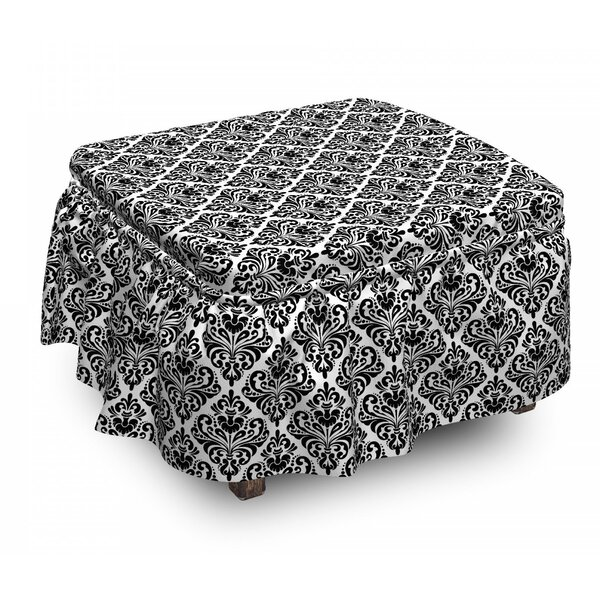 Damask Old Blossom 2 Piece Box Cushion Ottoman Slipcover Set By East Urban Home