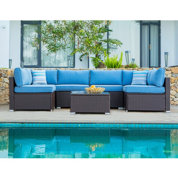 Genevieve 7 Piece Rattan Sectional Seating Group with Cushions by Bayou Breeze Bayou Breeze