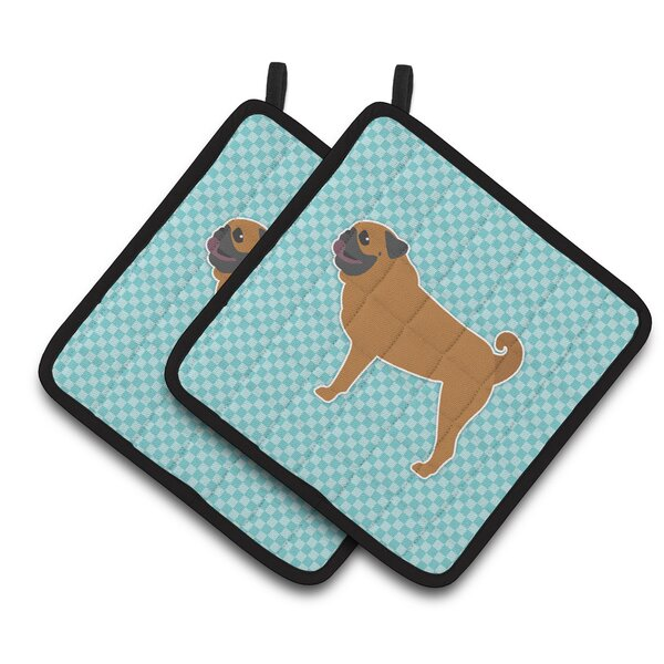 Pug Checkerboard Potholder (Set of 2) by East Urban Home