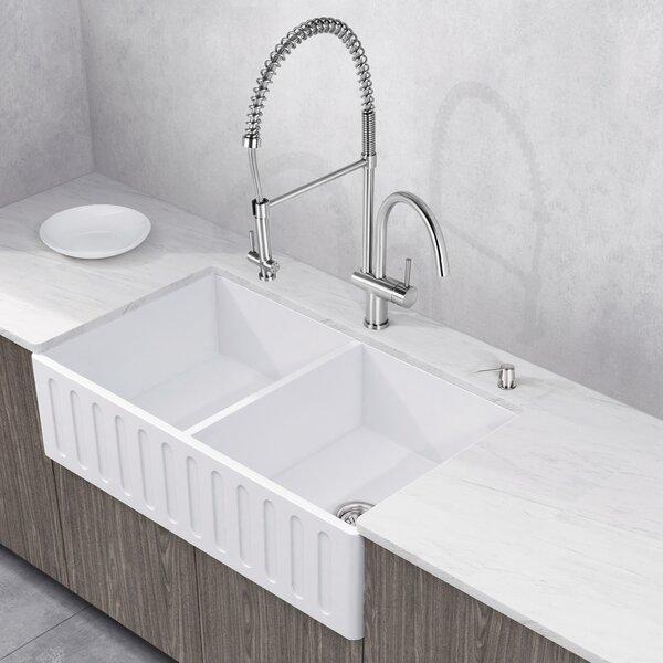 VIGO Matte Stone 36 L x 18 W Double Basin Farmhouse Kitchen Sink with Faucet by VIGO